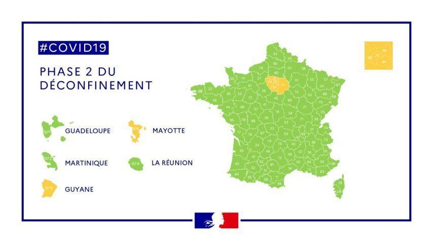 Il s'agit d'une carte de France qui met en évidence les zones vertes et les zones oranges qui sont les régions et dom-tom qui se sont déconfinés. Les zones oranges sont l'Île-de-France, Mayotte et la Guyane. Tout le reste est une zone verte (régions ainsi que la Guadeloupe, Martinique et La Réunion).