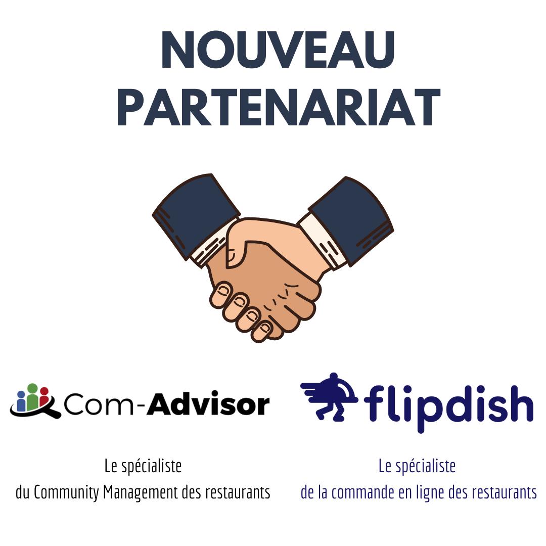 Com-Advisor, spécialiste du Community Management  Flipdish, spécialite de la commande en ligne
